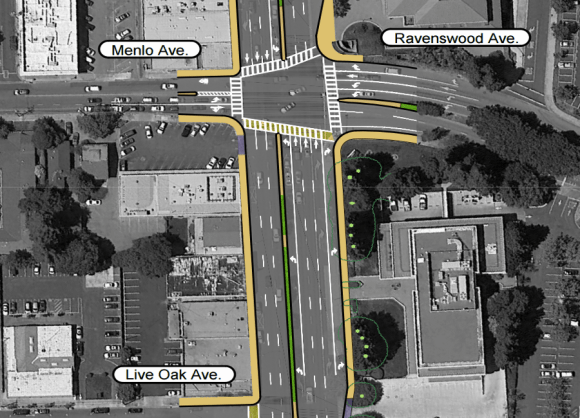 This proposed expansion of El Camino Real to six lanes at Ravenswood Avenue was cancelled in early May, freeing up $1 million for other transportation projects in Menlo Park. Image: City of Menlo Park