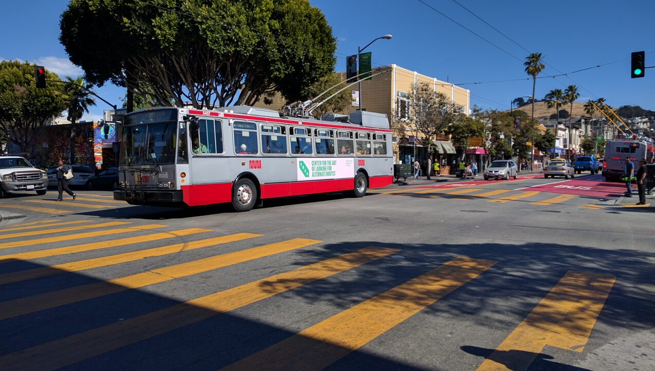 Blow back continues to SFMTA's red-painted, transit only lanes on Mission. Photo: Streetsblog.