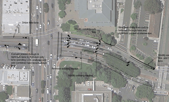 While El Camino Real won't be fixed anytime soon, Menlo Park did approve bike lanes on Ravenswood Avenue. This design dates from March 2012. Image: Fehr and Peers