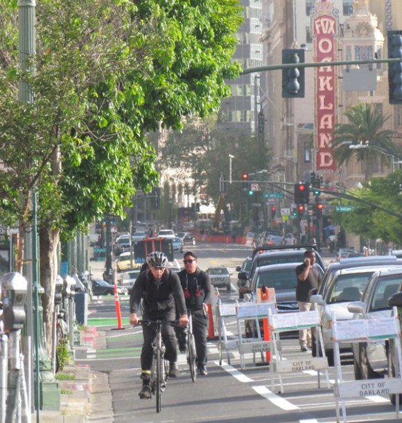 Even bike lanes, such as this recently installed one on Telegraph in Oakland, would have triggered a study and/or a lawsuit under the old metric of LOS. Photo: Streetsblog.