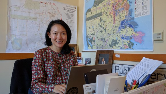 D11 Supervisor Jane Kim at her desk in City Hall. Photo: Streetsblog.