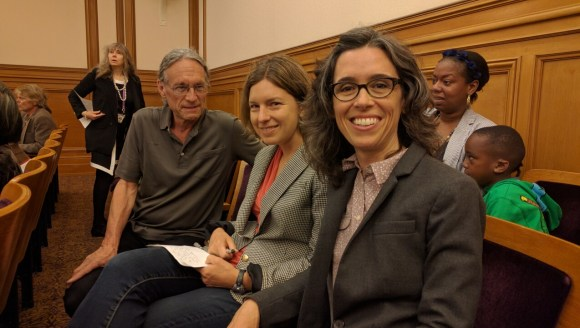 Peter Strauss from the San Francisco Transit Riders, Laura Tam, a Sunset District resident who is also with SPUR, and Cathy DeLuca with Walk SF were at the meeting. Photo: Streetsblog.