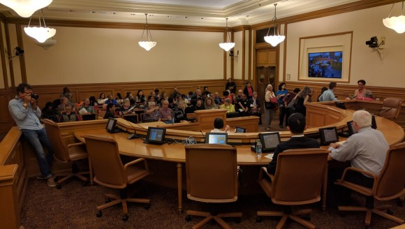 Some 60 people came to address a Friday morning hearing on proposed changes to the L-Taraval. Photo: Streetsblog.