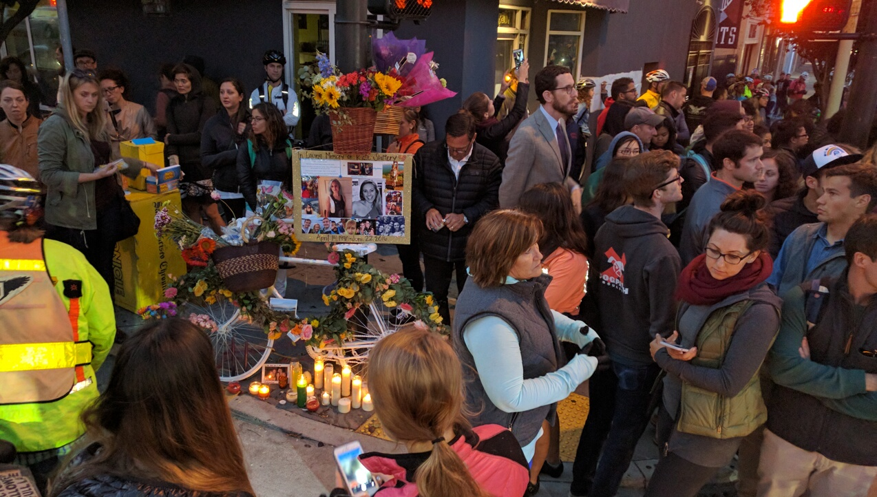 The vigil for Kate Slattery. Photo: Streetsblog.