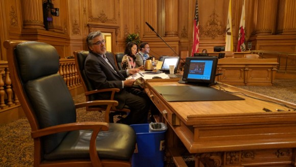 Supervisors John Avalos, Jane Kim and David Campos hear testimony from SFMTA to the Public Safety and Neighborhood Services Committee about efforts to accelerate street improvements. Photo: Streetsblog.