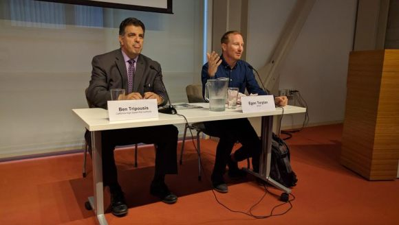 Ben Tripousis of the California High Speed Rail Authority and Egon Terplan of SPUR. Photo: Streetsblog