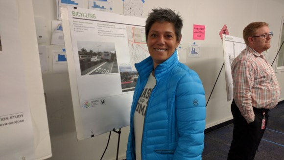 Constance Adamopoulo would like to see Dutch-style bike infrastructure, better lighting, and at least some car parking for future events at the Car Barn. Streetsblog suggested Car Barn events could be better served by having motorists in private vehicles park in the lots at Daly City BART and ride one stop. Photo: Streetsblog