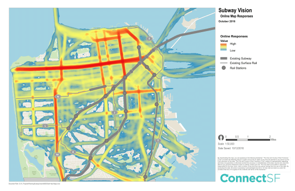 "A ""heat map"" of where San Franciscans want to see subways. Image: ConnectSF"