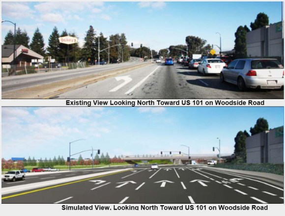 """C/CAG hopes to ensure roadway widening """"improvements"""" such as this one proposed for Woodside Road near downtown Redwood City are eligible for funding through Plan Bay Area 2040. Image: Caltrans"""