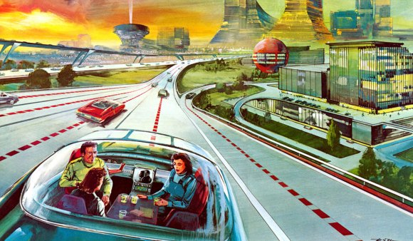 Is our new ride-hale tech tempting us to repeat past mistakes? Driveless cars has been a dream of road planners since the Interstate Highway System was first envisioned. Image source unknown.