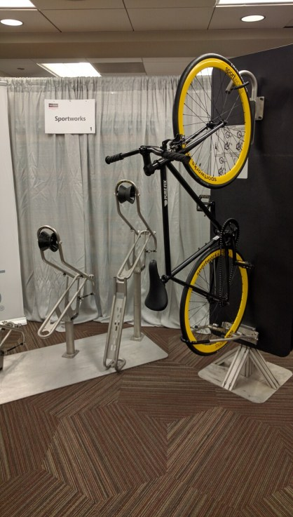 Sportswork, a company based in Washington State, builds bike racks for trains. Photo: Streetsblog