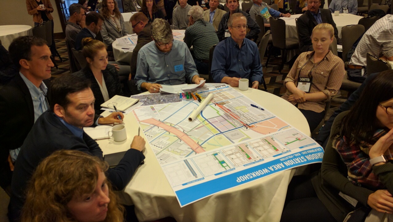 Planners jot down their ideas for how to rework Diridon station for HSR, BART and expanded Caltrain, VTA, ACE and bus service. Photo: Streetsblog