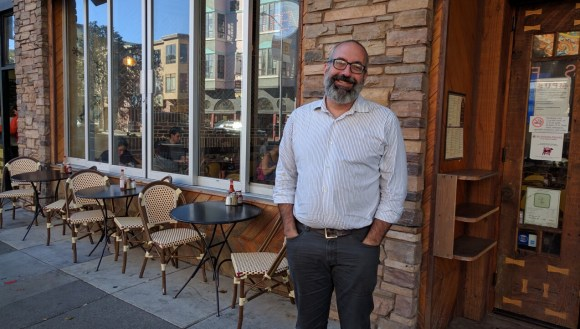 Tom Radulovich after his Streetsblog exit-interview outside a cafe on the Valencia corridor in the Mission. Photo: Streetsblog
