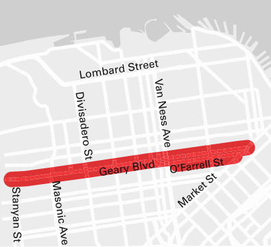 The stretch of Geary that will see improvements under the Geary Rapid project. Image: SFMTA