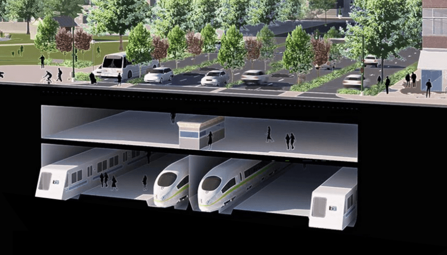 A rendering of how transit might run in the space currently dedicated to cars. Rendering by Groundworks Office, ConnectOAKLAND
