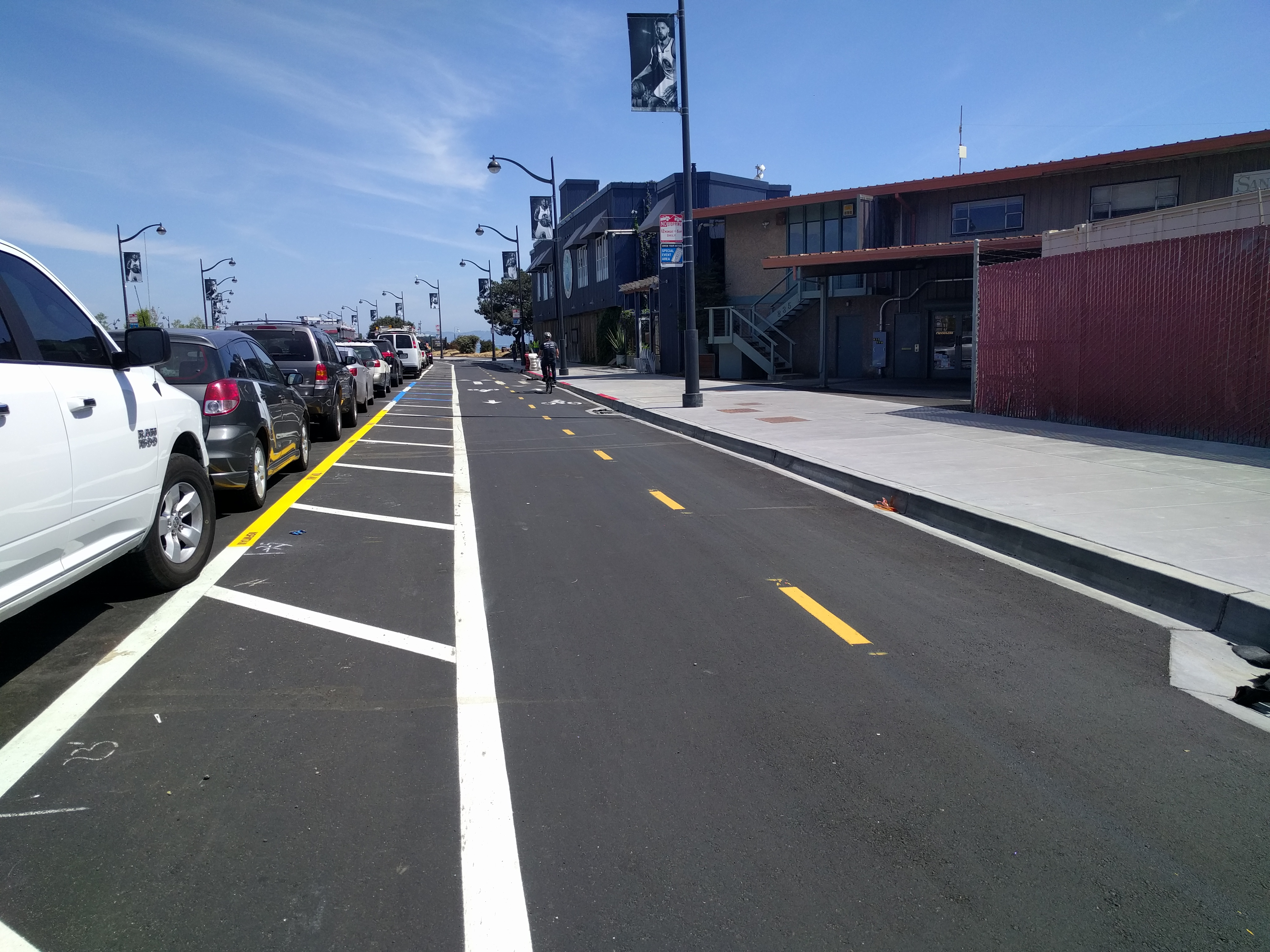 Not many cyclists are able to use this facility yet, due to all the construction around it. But a few have figure it out.