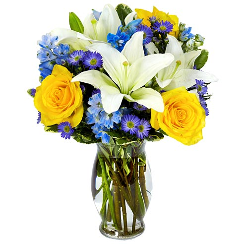 blue hues flower bouquet