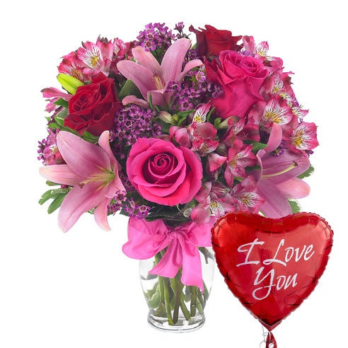 Pink Flower And Balloon Bouquet At Send Flowers
