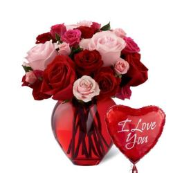 Last minute gift delivery on Valentine's Day mixed roses bouquet