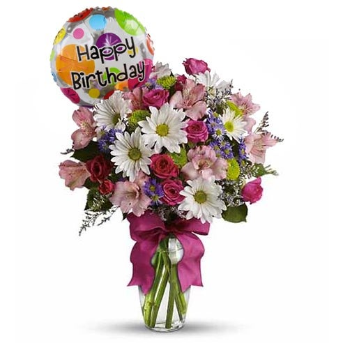 birthday flowers and balloons