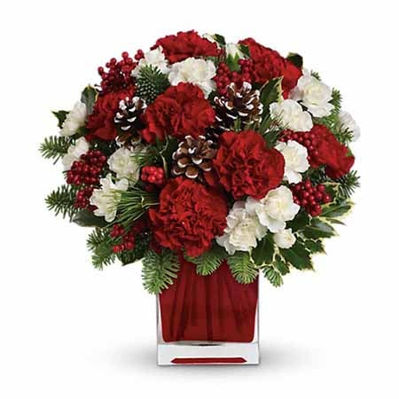 carnations and pinecons bouquet