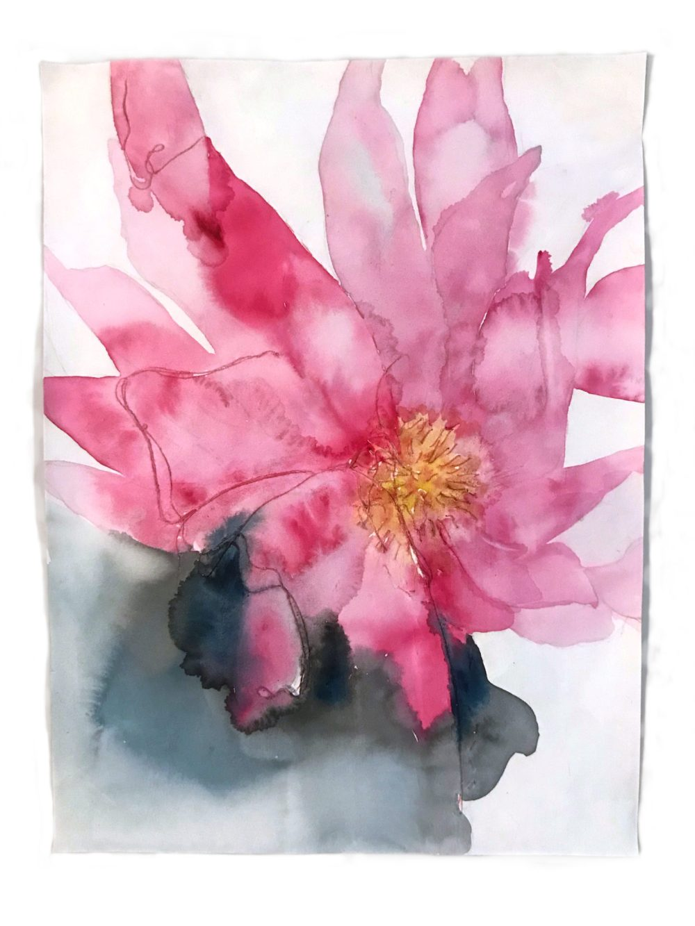"Sirikul Pattachote ""Lotus in Bloom"" (2018, watercolor and thread on paper)"