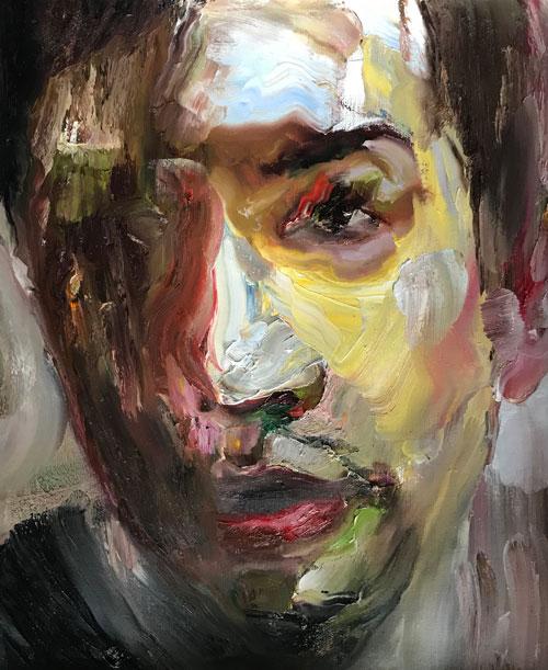 """Attasit Pokpong """"Self Portrait 5"""" (2017, oil on linen, 25.6"""" x 29.5"""")"""