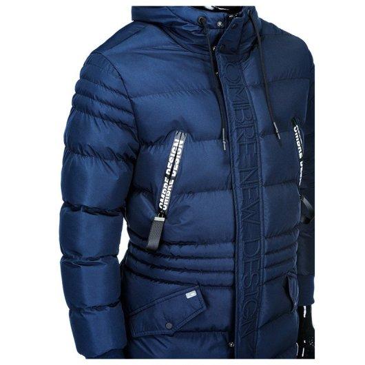 modra dolga moška bunda