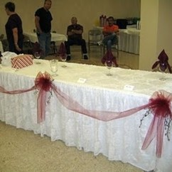 Tablecloths And Chair Covers Bedroom Chairs For Teens Skirting Overlays Bows 4 Designed To Fit 8 Rectangular Tables Each Cover Consists Of 2 Items A Solid White Polyester Underlayment Lacy Overlay