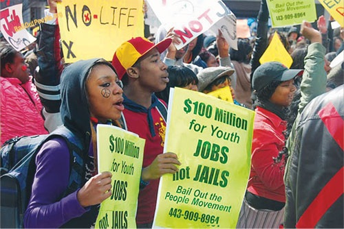 Captivating Youths Rally For Job Opportunities In Baltimore.