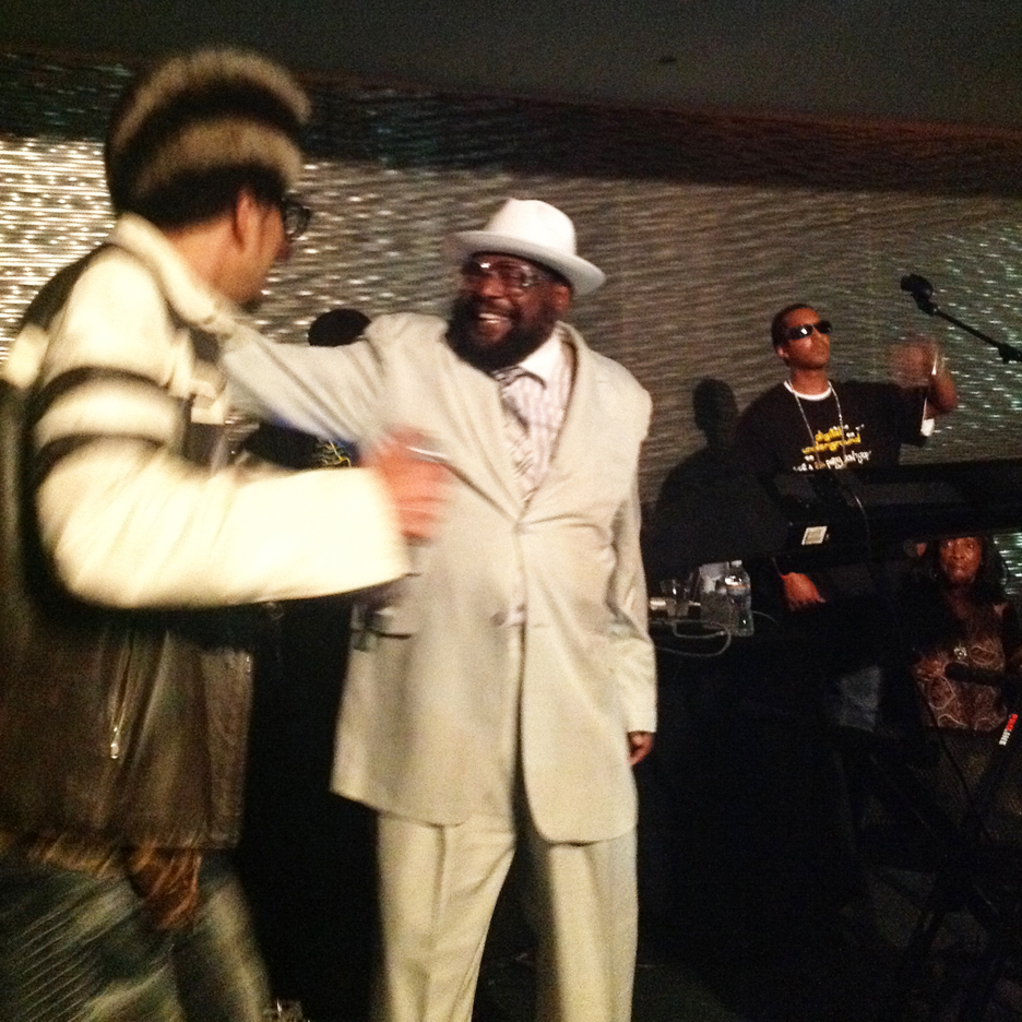 With ShockG/Humpty Hum and George Clinton on stage together, Tupac's birthday party was thumping so hard that the walls were sweating. - Photo: Block Report Radio