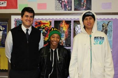 Metro HS Principal Nick Kappelhof, seniors Tai Britton, Carlos Rodriguez Perez