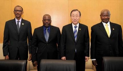 Paul Kagame, Joseph Kabila, Ban Ki-moon, Yoweri Museveni at African Union