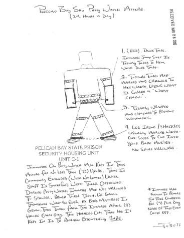 Pelican Bay SHU potty watch attire drawing by prisoner-1, web