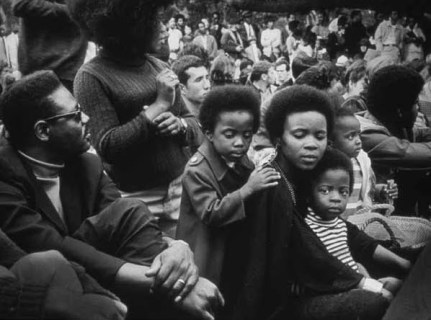Black Panthers- Family at Free Huey Rally DeFremery Park by Pirkle Jones