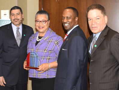 Doyle Mitchell, NatGÇÖl Bankers Assoc & Industrial Bank, Ron Busby, US Black Chamber, Michael Grant, NBA, present award Ma