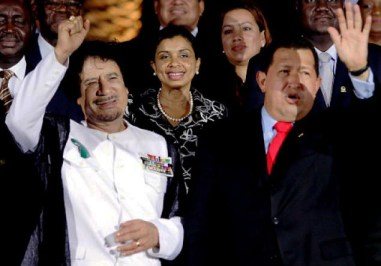Muammar Qaddafi, Hugo Chavez wave at Africa-South America Summit 092609 by AP