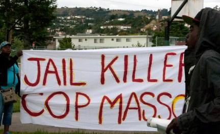 Alan Blueford 1st year memorial 'Jail killer cop Masso' banner 050513 by Malaika, web