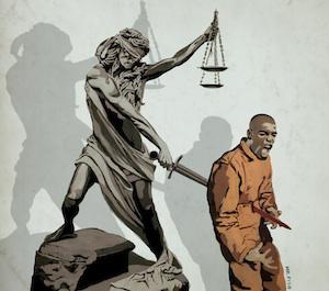 Justice skewers Black man, illustration by Mr. Fish