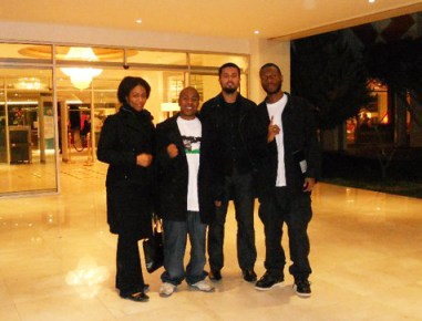 Rashida, JR, guide, Malcolm at hotel Tripoli, Libya 0111 by BRR