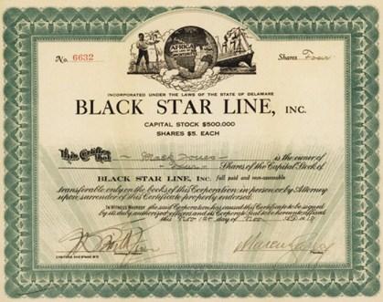 Black Star Line $5 share Marcus Garvey signature