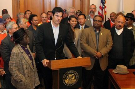 Joshua Arce w Mayor Ed Lee, Espanola Jackson, James Richards, supporters announces local hire mandate for Warriors arena