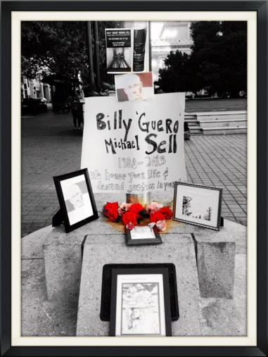 Hunger Strike demo Billy Sell altar made by Dendron Utter Oscar Grant Plaza 073013 by Molly Batchelder