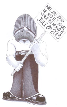 'Will you stand up and let your voice be heard July 8th 2013' drawing by Michael Russell 0513