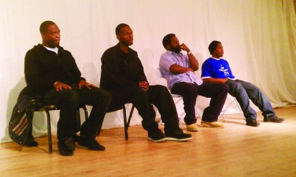 M1, Malcolm, film director Samm Styles, JR at People's Human Rights and Hip Hop Film Fest 021211 by JR