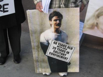 UN petition press conf poster of Todd Ashker LA State Bldg 032012 by Alma Espinosa