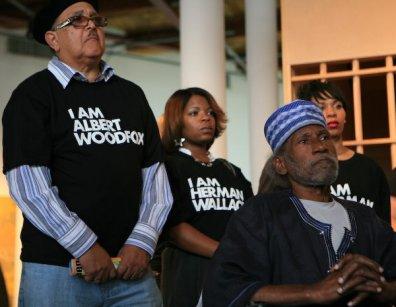 Angola 3 press conf to free Albert Woodfox, Mwalimu, friend of King, front 1108