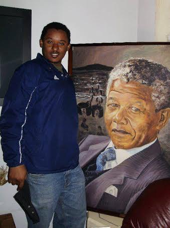 Claude Gatebuke inside Mandela's Soweto home