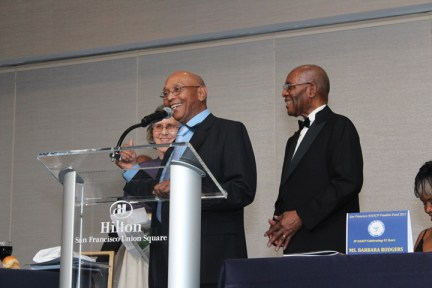 SF NAACP Gala Mary, Willie Ratcliff accept award, Amos Brown, Barbara Rodgers 110913 by Lance Burton, Planet Fillmore Communications, web
