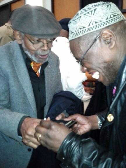 Amiri Baraka, Raymond Nat Turner at Malcolm X birthday at Schomburg, Harlem 051913 by Zigi Lowenberg
